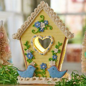 Illuminated Birdhouse with Floral Accents